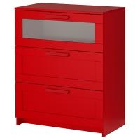 БРИМНЭС Комод с 3 ящиками, красный, матовое стекло