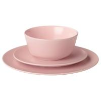 ДИНЕРА Сервиз,18 предметов, светло-розовый