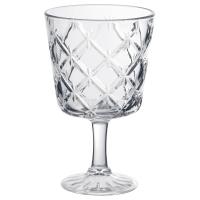 ФЛИМРА Бокал для вина, прозрачное стекло, с рисунком