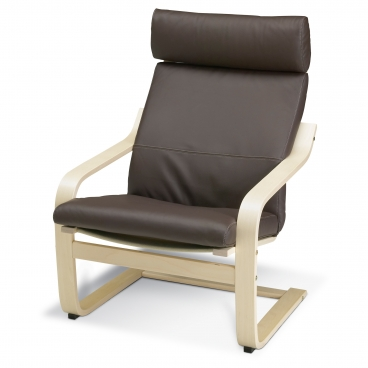 ПОЭНГ кресло, каркас березовый шпон, чехлы из кожи