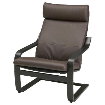 ПОЭНГ кресло, кресло черно-коричневый, чехлы кожаные