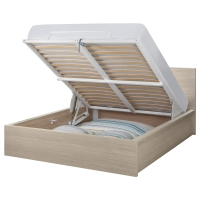 МАЛЬМ Кровать с подъемным механизмом, дубовый шпон, беленый