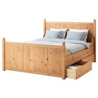 ГУРДАЛЬ Каркас кровати с 4 ящиками, светло-коричневый, Леирсунд