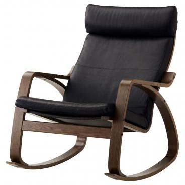 ПОЭНГ кресло-качалка, каркас коричневый, чехлы кожаные