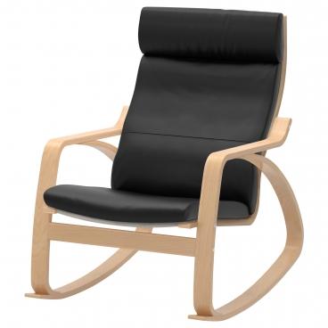 ПОЭНГ кресло-качалка, каркас березовый шпон, чехлы из кожи