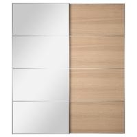 АУЛИ/ИЛЬСЕНГ Пара раздвижных дверей, зеркальное стекло, дубовый шпон, беленый