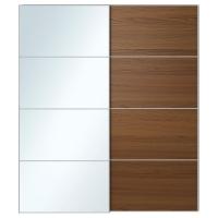 АУЛИ/ИЛЬСЕНГ Пара раздвижных дверей, зеркальное стекло, коричневая морилка ясеневый шпон
