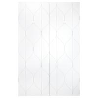 СВОРКМО Пара раздвижных дверей, сетчатый орнамент белый, бежевый