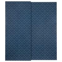СВОРКМО Пара раздвижных дверей, с рисунком темно-синий, белый