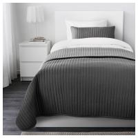 КАРИТ Покрывало и чехол на подушку, серый