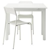 БЬЮРСТА/АДДЕ Стол и 2 стула, белый