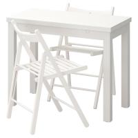 БЬЮРСТА/ТЕРЬЕ Стол и 2 стула, белый, белый