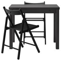 БЬЮРСТА/ТЕРЬЕ Стол и 2 стула, коричнево-чёрный, черный