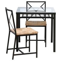 ГРАНОС Стол и 2 стула, черный, стекло