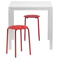 МЕЛЬТОРП/МАРИУС Стол и 2 стула, белый, красный