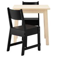 НОРРОКЕР/НОРРОКЕР Стол и 2 стула, белый береза, черный
