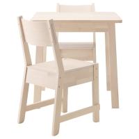НОРРОКЕР/НОРРОКЕР Стол и 2 стула, белый береза, белый береза
