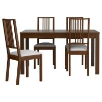 БЬЮРСТА/БЁРЬЕ Стол и 4 стула, коричневый, Гобо белый