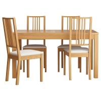 БЬЮРСТА/БЁРЬЕ Стол и 4 стула, дубовый шпон, Гобо белый