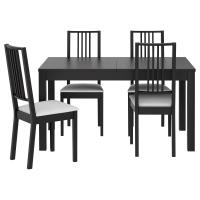 БЬЮРСТА/БЁРЬЕ Стол и 4 стула, коричнево-чёрный, Гобо белый