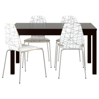 БЬЮРСТА/ВИЛЬМАР Стол и 4 стула, коричнево-чёрный, в полоску черный