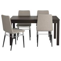 БЬЮРСТА/ПРЕБЕН Стол и 4 стула, коричнево-чёрный, Тено светло-серый