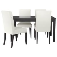 БЬЮРСТА/ХЕНРИКСДАЛЬ Стол и 4 стула, коричнево-чёрный, Грэсбу белый