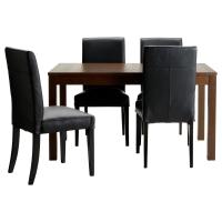 БЬЮРСТА/ХЕНРИКСДАЛЬ Стол и 4 стула, коричневый, Глосе черный