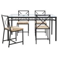 ГРАНОС Стол и 4 стула, черный, стекло