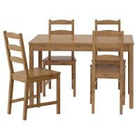 ЙОКМОКК Стол и 4 стула, морилка,антик