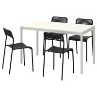 МЕЛЬТОРП/АДДЕ Стол и 4 стула, белый, черный