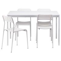 МЕЛЬТОРП/АДДЕ Стол и 4 стула, белый