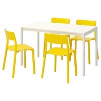 МЕЛЬТОРП/ЯН-ИНГЕ Стол и 4 стула, белый, желтый