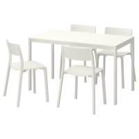 МЕЛЬТОРП/ЯН-ИНГЕ Стол и 4 стула, белый, белый