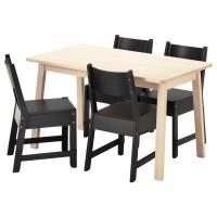 НОРРОКЕР/НОРРОКЕР Стол и 4 стула, белый береза, черный