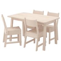 НОРРОКЕР/НОРРОКЕР Стол и 4 стула, белый береза, белый береза