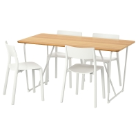 ОВРАРЮД/ЯН-ИНГЕ Стол и 4 стула, белый бамбук, белый