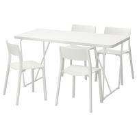 РЮДЕБЭКК/БЭККАРИД/ЯН-ИНГЕ Стол и 4 стула, белый, белый