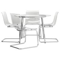 САЛЬМИ/ТОБИАС Стол и 4 стула, стекло, прозрачный