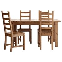 СТУРНЭС/КАУСТБИ Стол и 4 стула, морилка,антик
