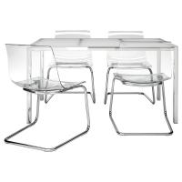 ТОРСБИ/ТОБИАС Стол и 4 стула, белый, прозрачный