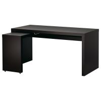 МАЛЬМ Письменный стол с выдвижной панелью, черно-коричневый