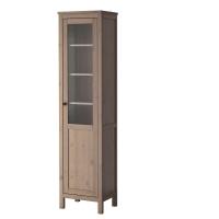 ХЕМНЭС Шкаф с глух/стекл дверц, серо-коричневый