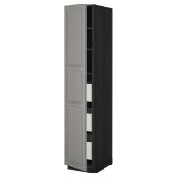 МЕТОД/МАКСИМЕРА Высокий шкаф с ящиками, черный, Будбин серый