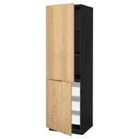 МЕТОД/МАКСИМЕРА Высокий шкаф+полки/3 ящика/2 дверцы, черный, Экестад дуб