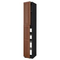 МЕТОД/МАКСИМЕРА Высокий шкаф/2дверцы/4ящика, черный, Филипстад коричневый