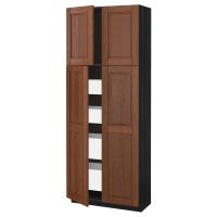 МЕТОД/МАКСИМЕРА Высокий шкаф/4дверцы/4ящика, черный, Филипстад коричневый
