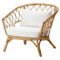СТОКГОЛЬМ 2017 Кресло с подушкой-сиденьем, ротанг, Рёстонга белый