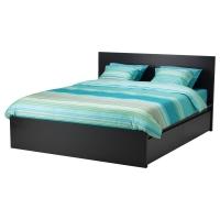 МАЛЬМ Высокий каркас кровати/4 ящика, черно-коричневый