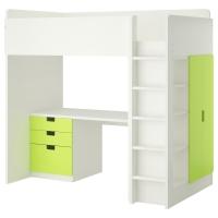 СТУВА Кровать-чердак/3 ящика/2 дверцы, белый, зеленый